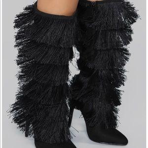 fashion nova fringe heel boots